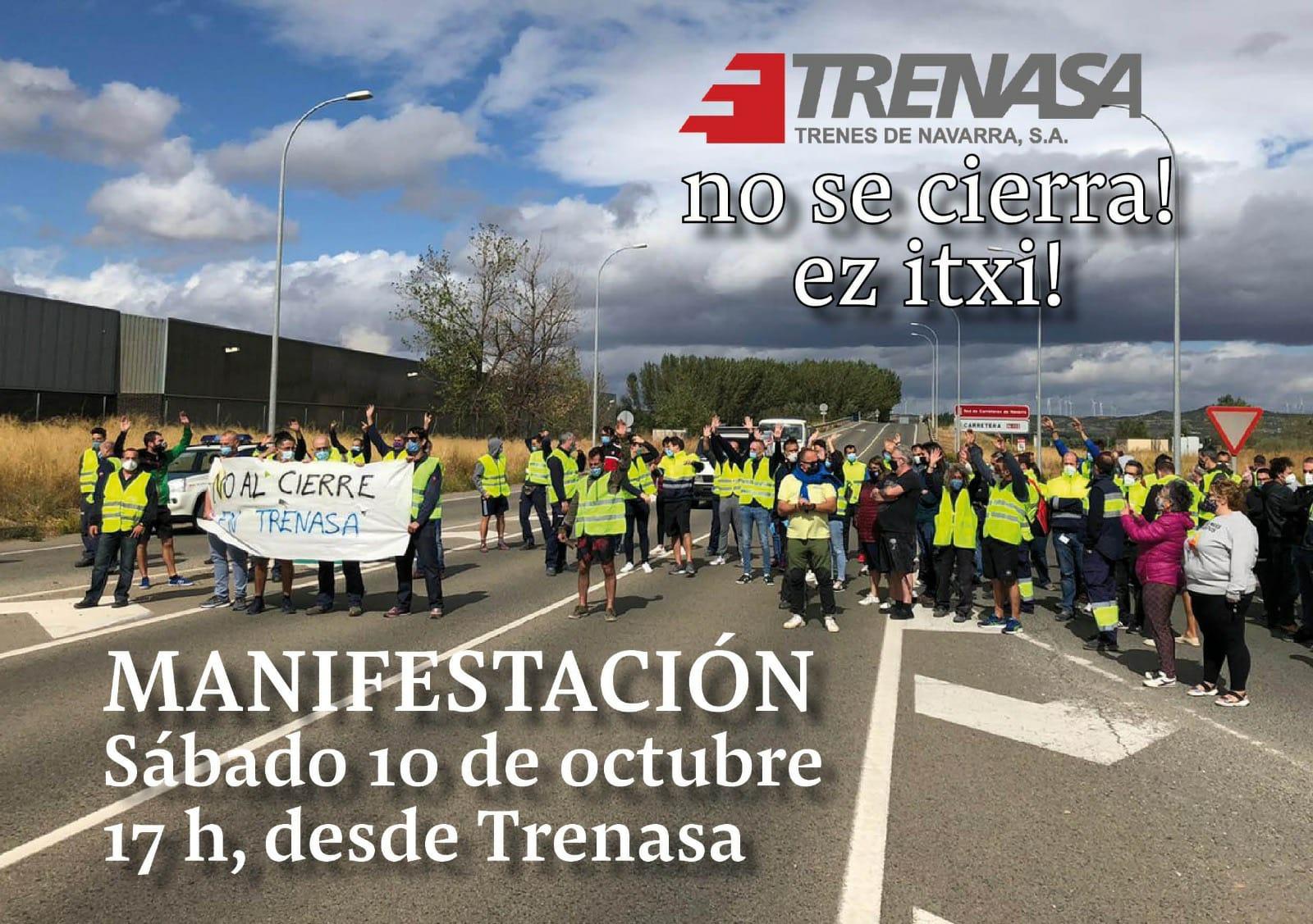 La plantilla de Trenasa convoca una manifestación para el sábado en Castejón