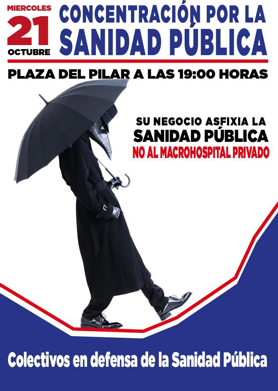 Zaragoza. Concentración por una sanidad enteramente pública. Miércoles 21 de Octubre