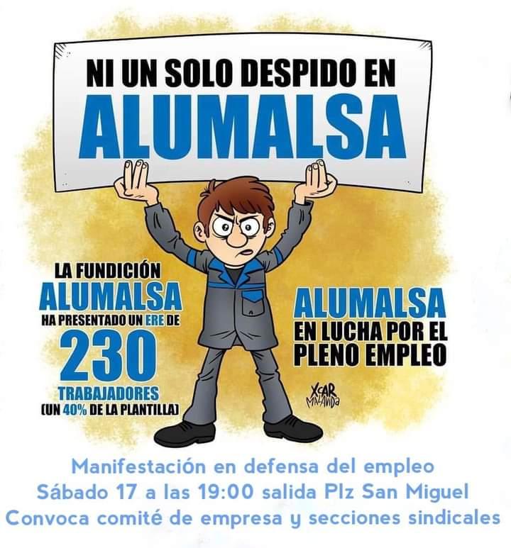 ALUMALSA EN LUCHA. MANIFESTACION SABADO 17, 19:00 H