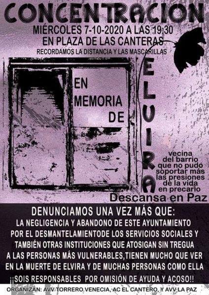 Concentracion 07/10/2020. Dos personas, vecinas de Torrero, se quitan la vida «en medio de la pobreza y de amenazas de desahucio»