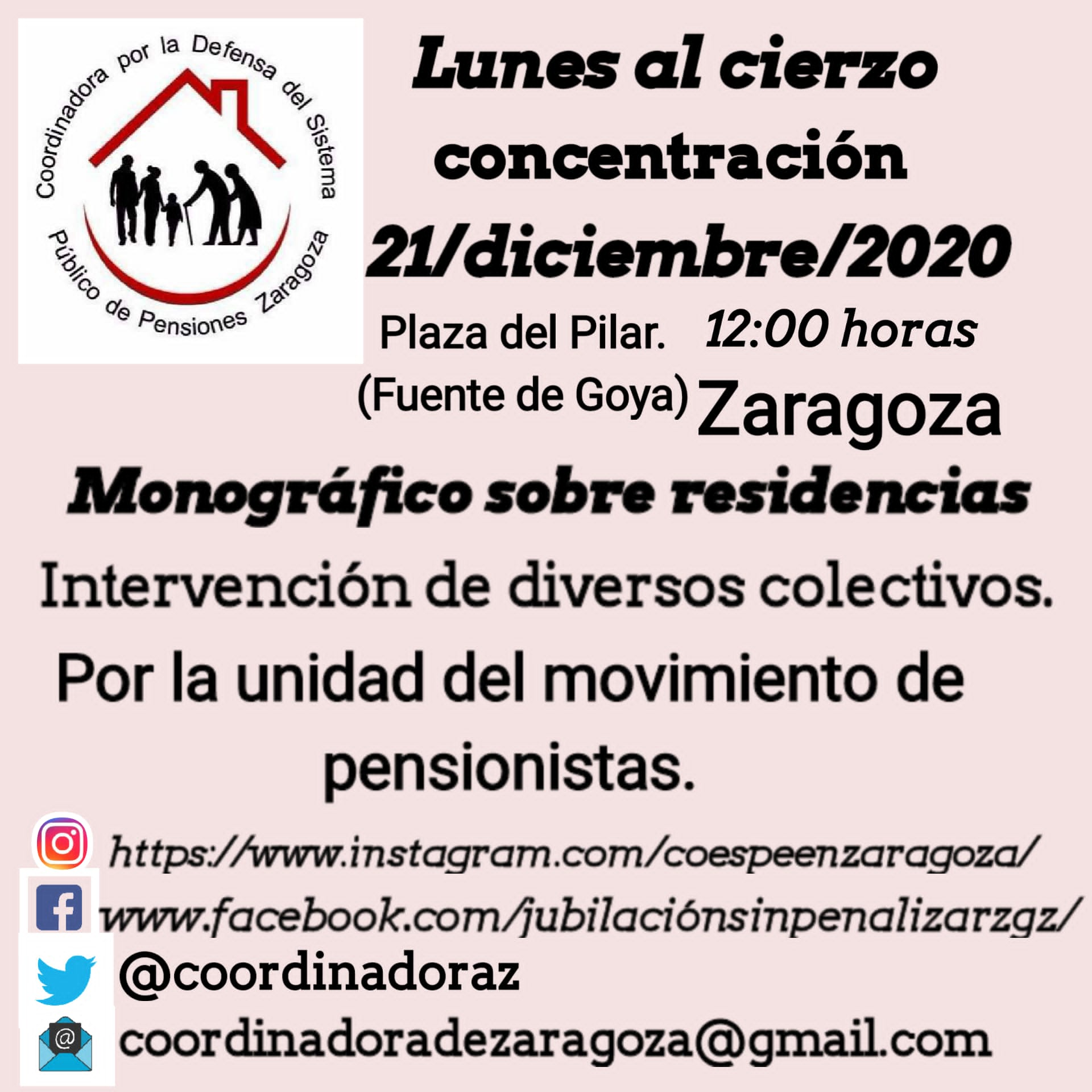 21 de Diciembre, Lunes al Cierzo, Plaza del Pilar 12:00 h. Dedicado a nuestros mayores y a las residencias.