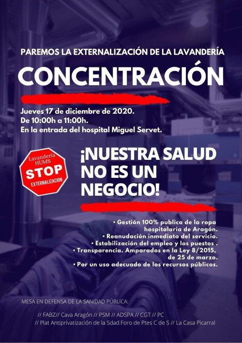 Zaragoza. Concentración contra la privatización de la lavandería en sanidad. Jueves 17/12. Comunicado de solidaridad de compañer@s del Gregorio Marañón