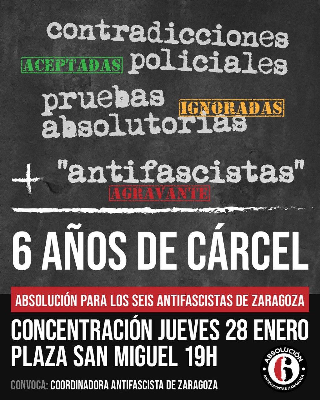 Concentración jueves 28 de Enero. Condenan y reprimen a las personas que están contra el fascismo