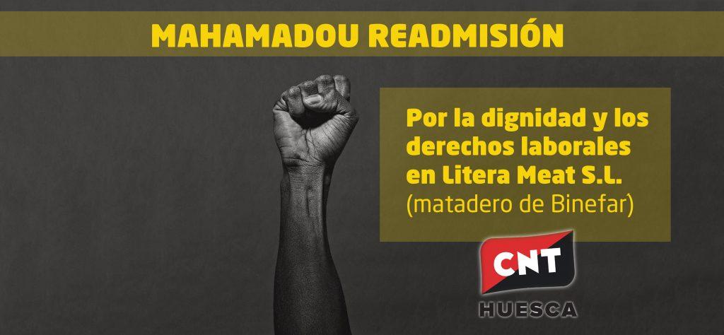 Comienza la campaña por la READMISIÓN DE MAHAMADOU, el Delegado Sindical de CNT despedido por Litera Meat S.L.