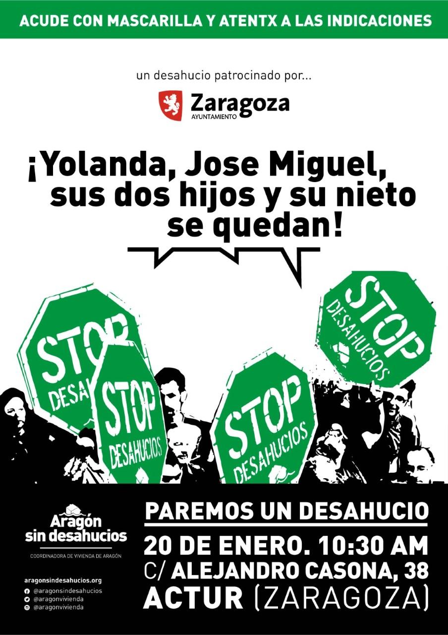 Próximos desahucios en Zaragoza. En este país y en plena pandemia, se sigue desahuciando.