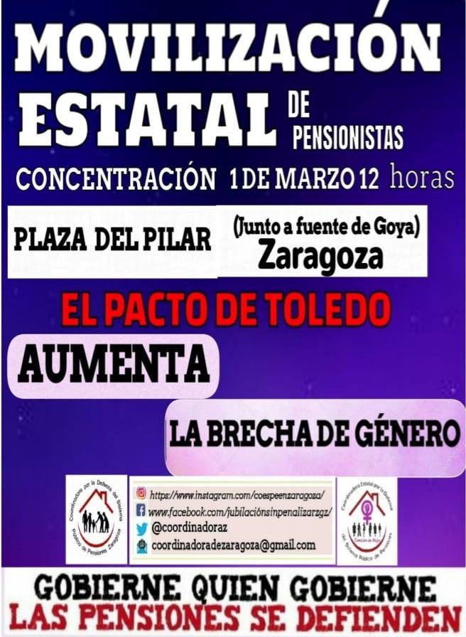 El Pacto de Toledo aumenta la brecha de género. Movilización Estatal, 1 de Marzo.