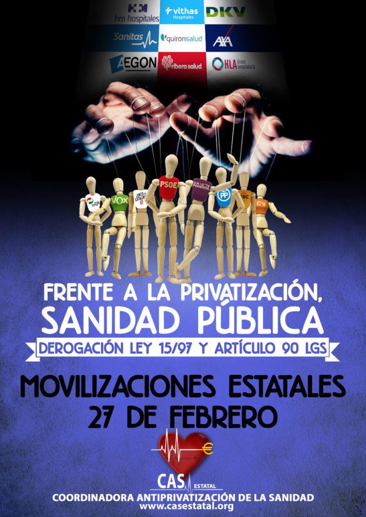 ¡¡FRENTE A LA PRIVATIZACION, SANIDAD PUBLICA!! Listado de movilizaciones estatales para el 27 de Febrero