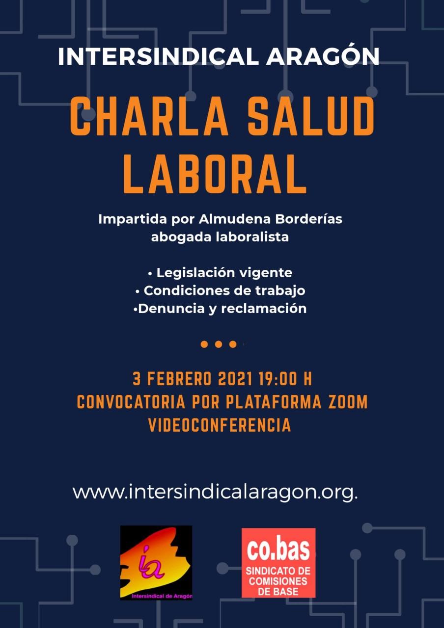 Charla salud laboral. Intersindical de Aragón-CO.BAS. por Almudena Borderias