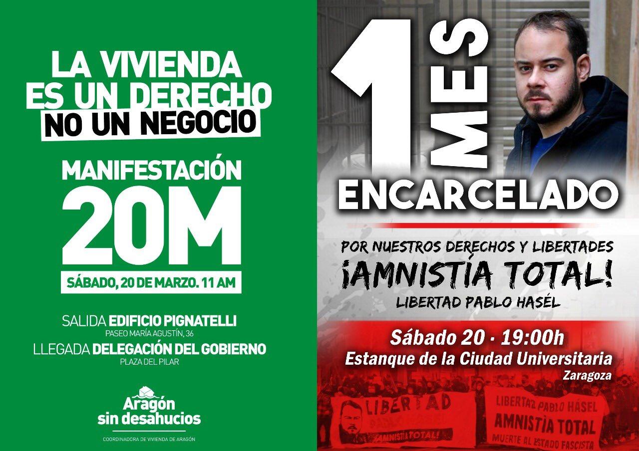 Zaragoza. ¡¡Sábado 20M jornada de lucha!! ¡¡Por nuestros derechos y libertades!!