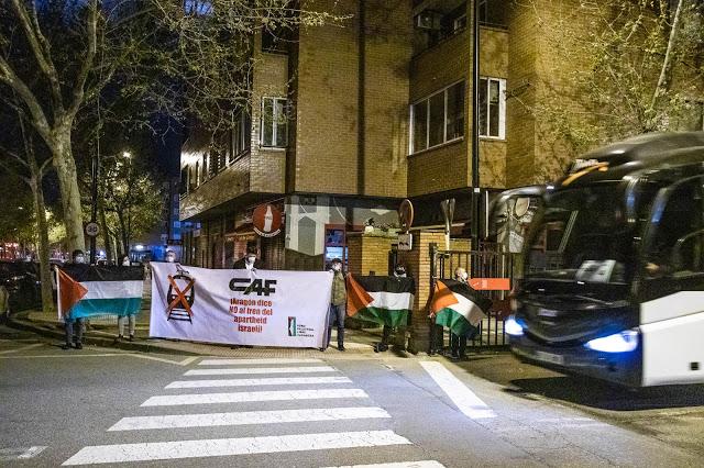 Entregamos en CAF el manifiesto «Aragón dice NO al tren del apartheid israelí»