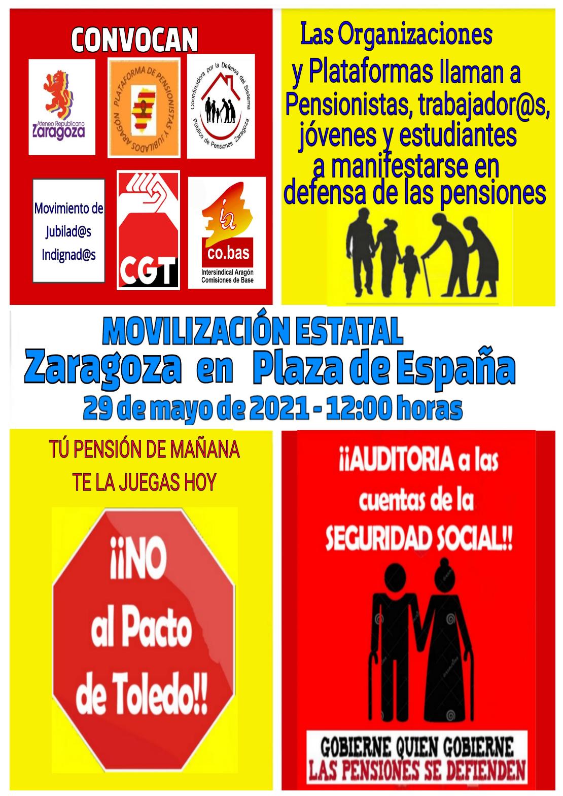 Sábado 29 de Mayo. Grandes movilizaciones de las plataformas de COESPE en todo el país.