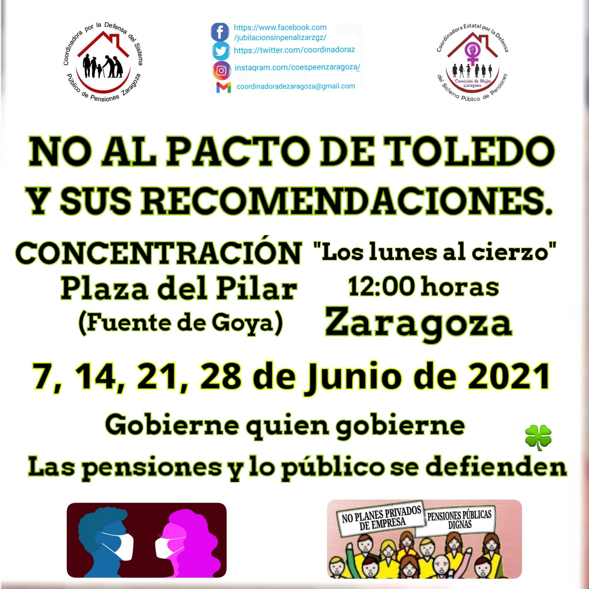 28J. Lunes al Cierzo contra el pacto secreto de gobierno y sindicatos del poder.