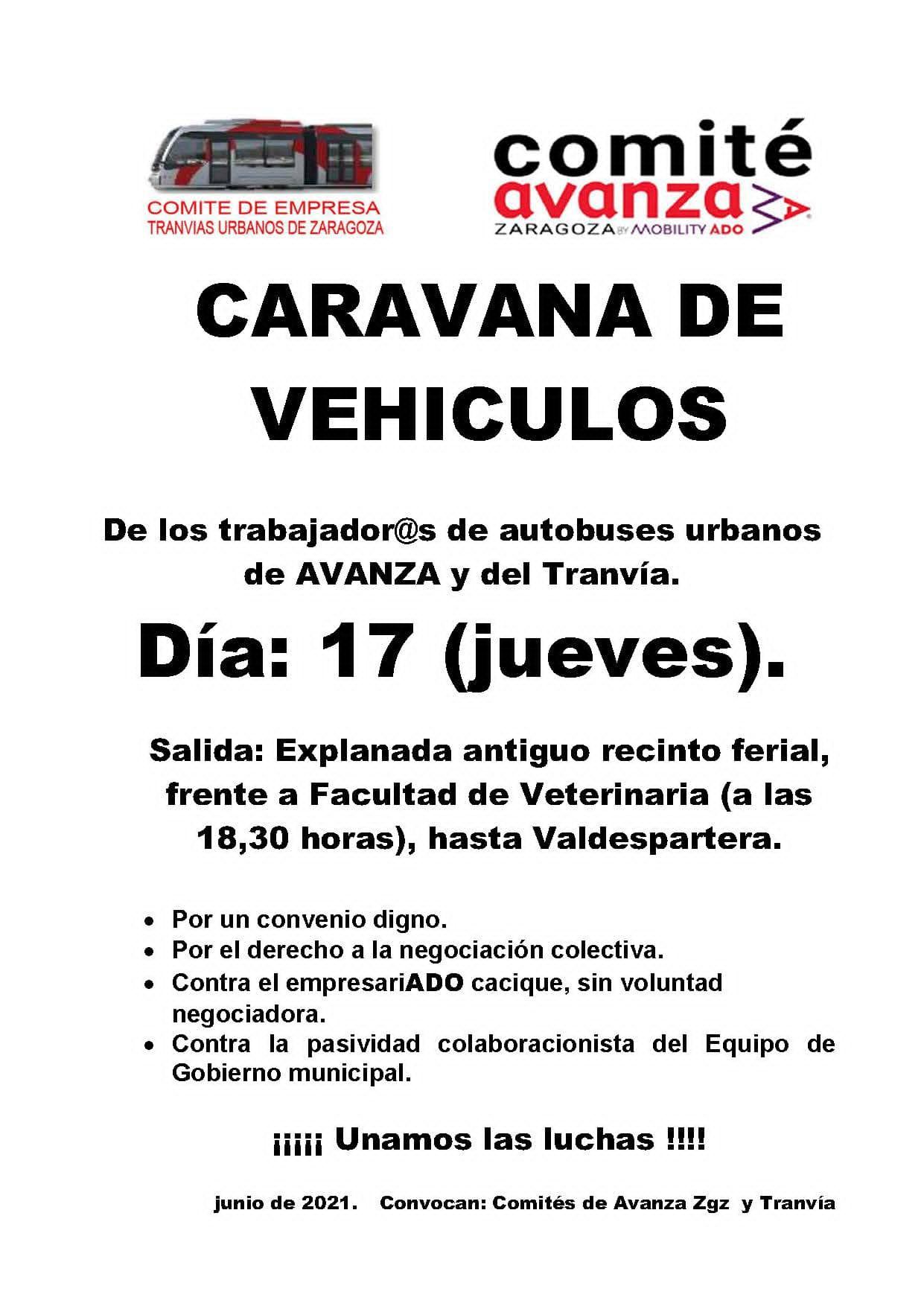 Zaragoza. Comité de Avanza, 17J, caravana de vehículos y paros parciales.