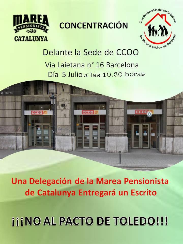 Pensionistas. Encierro y movilizaciones delante de la sede de CCOO, contra el pacto alcanzado sobre las pensiones