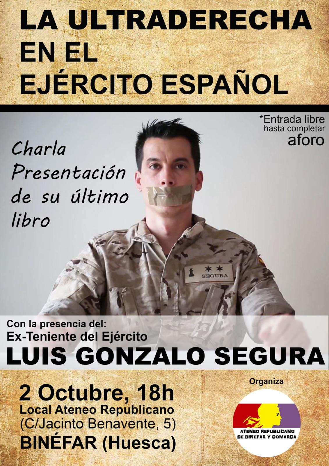 La ultraderecha en el ejército español. Charla en Binéfar. Sábado 2 de octubre