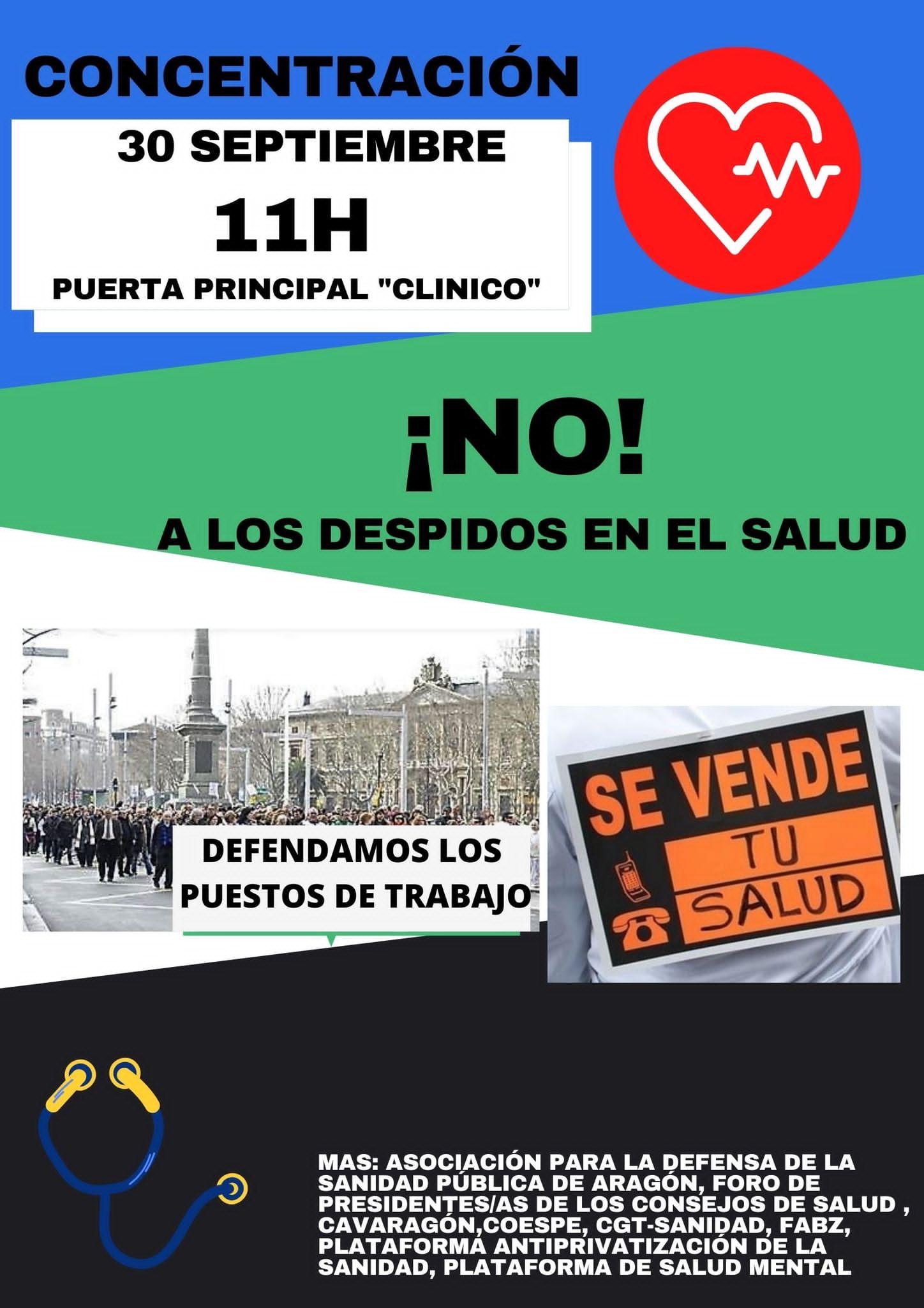 ¡¡NO A LOS DESPIDOS DEL SALUD!! Zaragoza. Concentración jueves 30/09