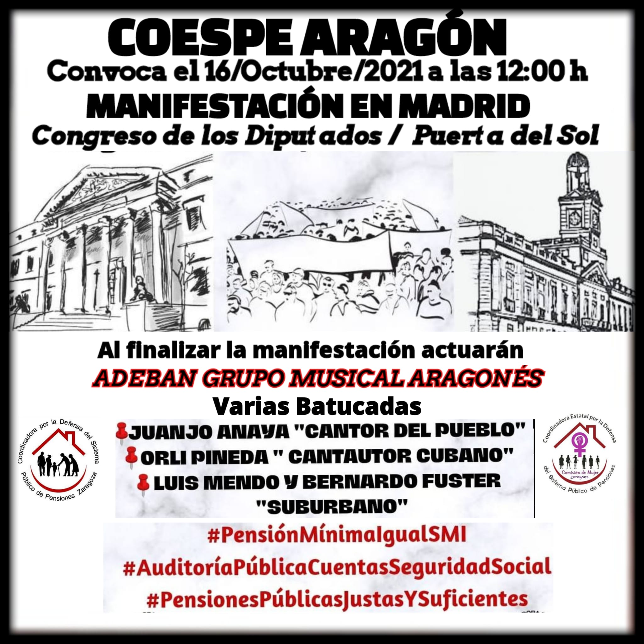 ¡PAREMOS LA REFORMA DE LAS PENSIONES Y LOS RECORTES SOCIALES! Sábado 16O, movilizaciones en Madrid