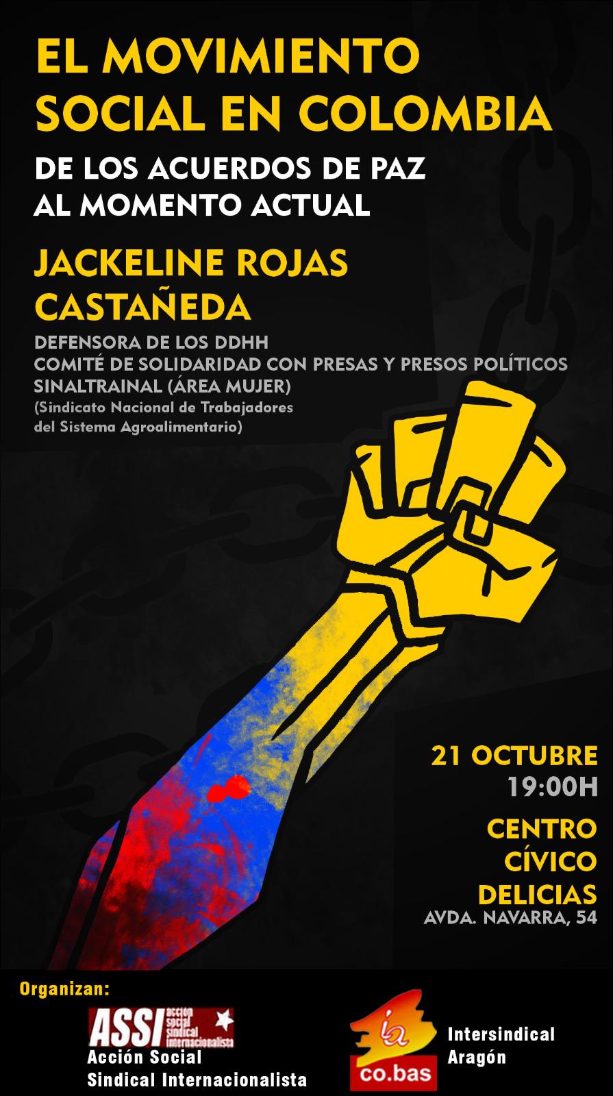 Zaragoza. Charla sobre el movimiento social en Colombia. Jueves 21 de Octubre