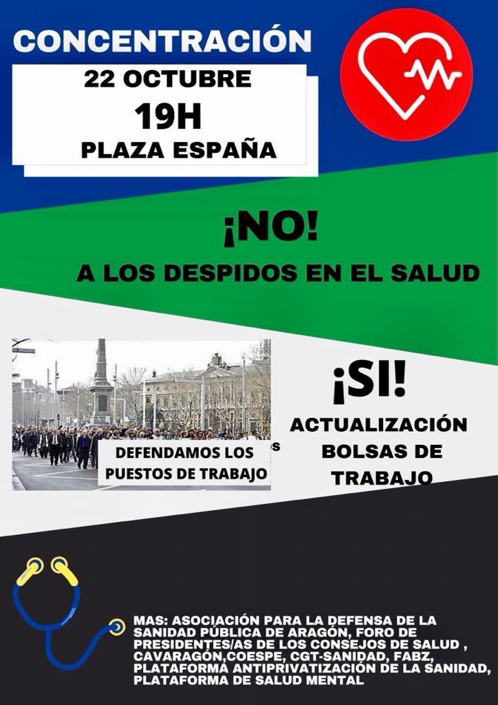 Zaragoza. Concentración despidos en el SALUD. Viernes 22 de Octubre.