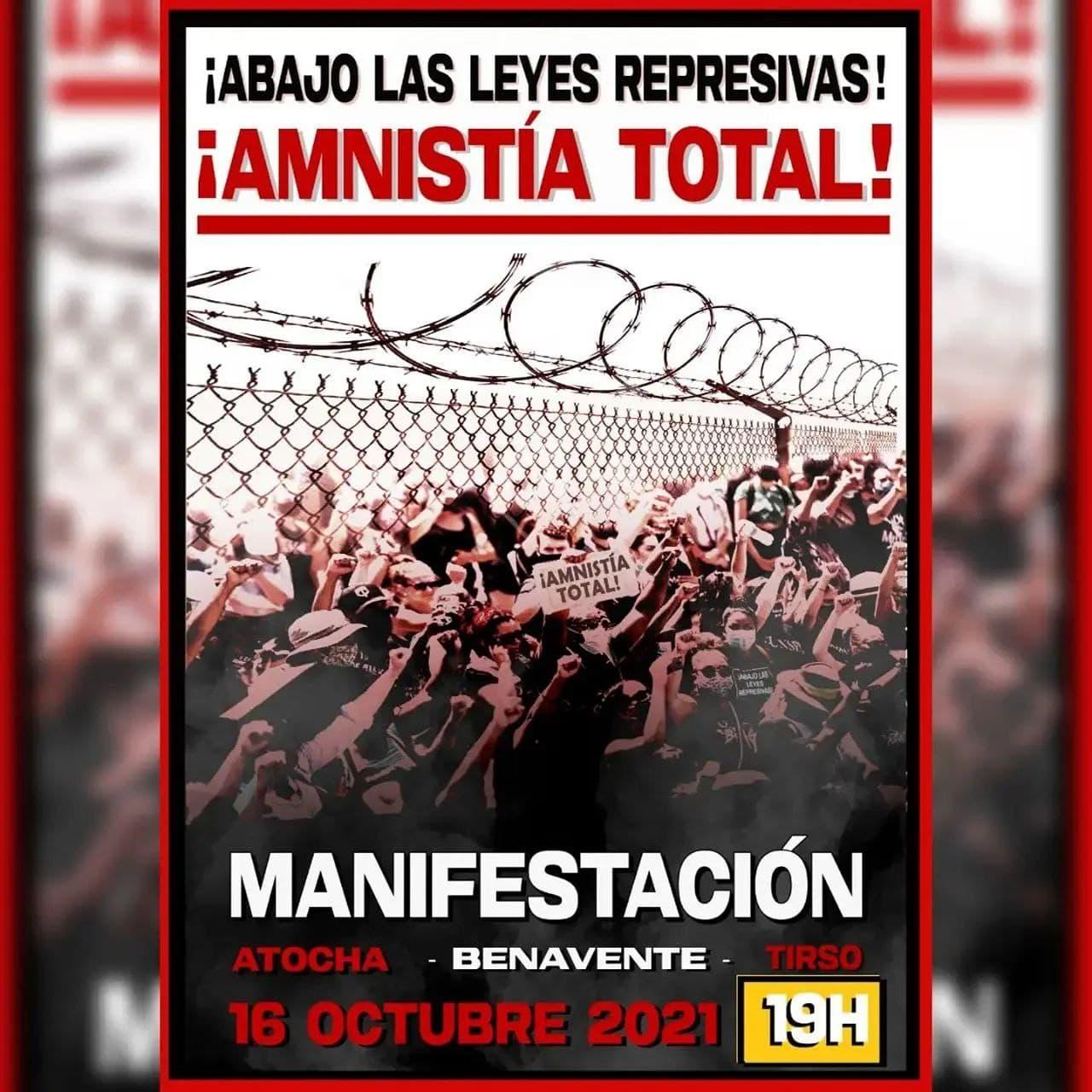 Manifestación en Madrid y poesía en Zaragoza por la Amnistía total y la Absolución.
