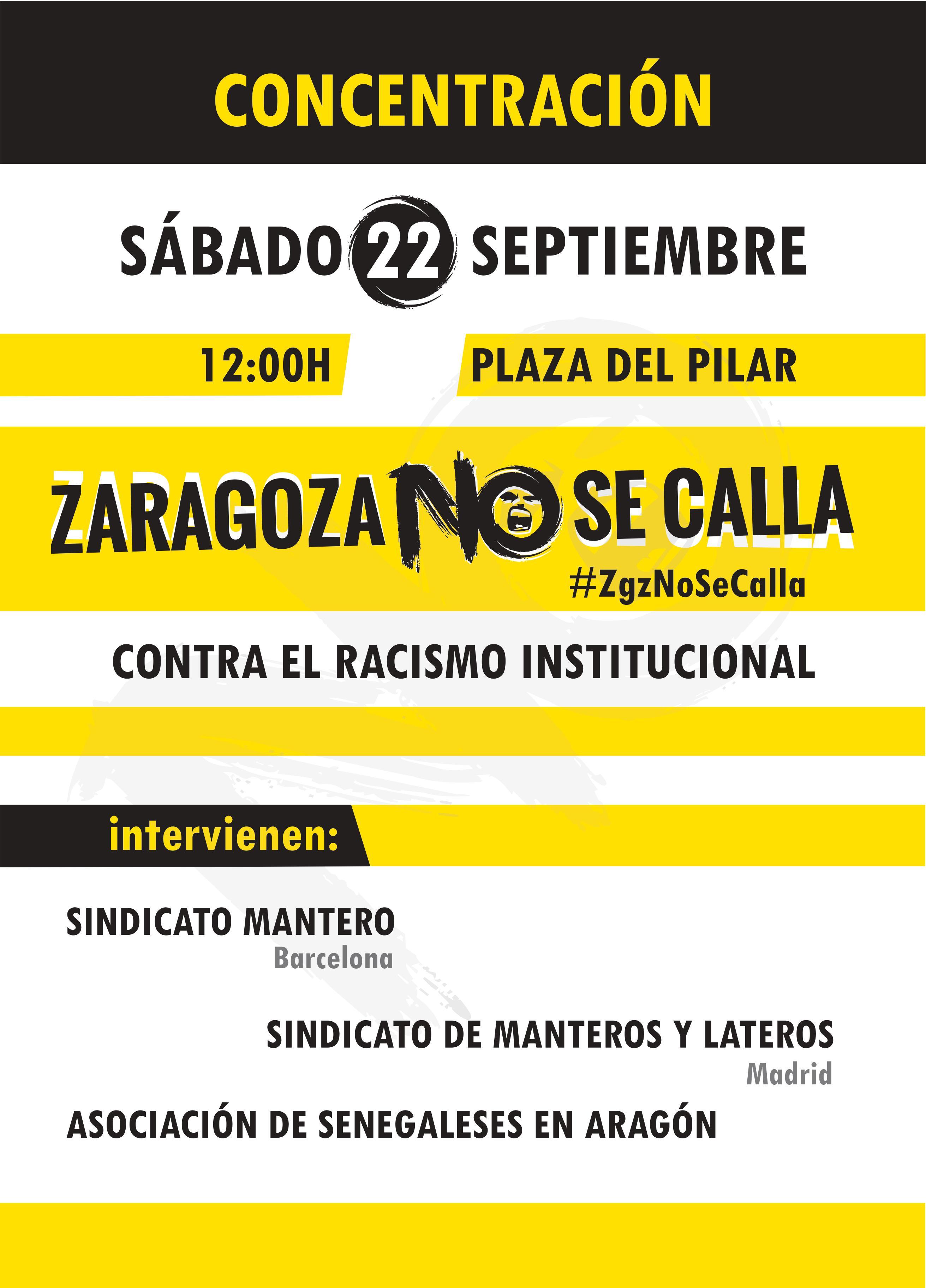 Para el 22 de Septiembre, Concentración de protesta. 12 h. Plaza del Pilar. Contra el racismo institucional