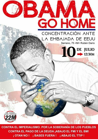Obama, Go Home. Dos manifestaciones contra la visita de Obama. En Madrid y Sevilla.