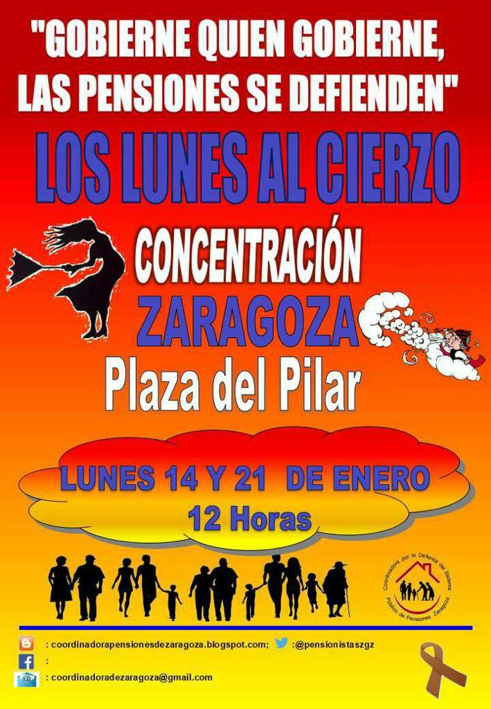 La lucha es el único camino. Lunes al cierzo. Coordinadora pensionistas de Zaragoza.