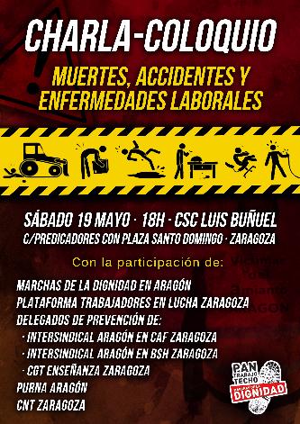 """[Marchas 22M Aragón] Charla-coloquio """"Muertes, Accidentes y enfermedades laborales"""" – Sábado 19 de Mayo – CSC Luis Buñuel [18h]"""