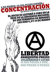 Concentración en apoyo a Mónica y Francisco en Zaragoza, 09/03