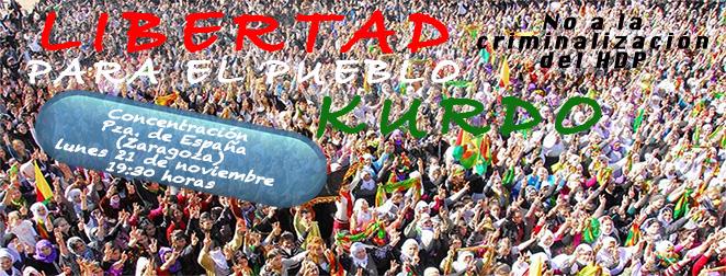LIBERTAD PARA EL PUEBLO KURDO. Concentración lunes 21 de Noviembre.