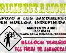 Bicifestación- Apoyo a l@s jardiner@s en Huelga Indefinida