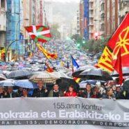 Euskal Herria también contra el 155. Miles de personas han dicho NO a la escalada represiva y totalitaria del Estado