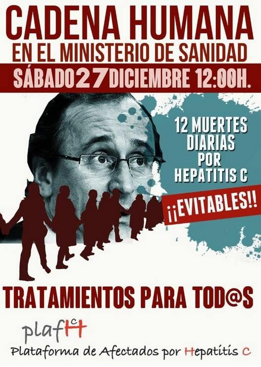 Hepatitis C.  Video de la Cadena Humana en el Ministerio de Sanidad