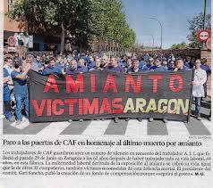 El Comité de CAF Zaragoza se moviliza contra el amianto. Viernes 27 de Abril en Zaragoza