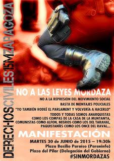 Manifestación contra las Leyes Mordaza, martes 30 de Junio