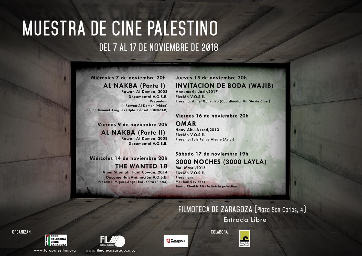 Muestra de cine palestino del 7 al 17 de noviembre en  la Filmoteca de Zaragoza