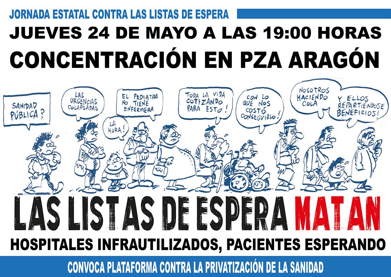 LAS LISTAS DE ESPERA MATAN. SANIDAD. Movilizaciones a nivel Estatal.  jueves 24 de mayo.