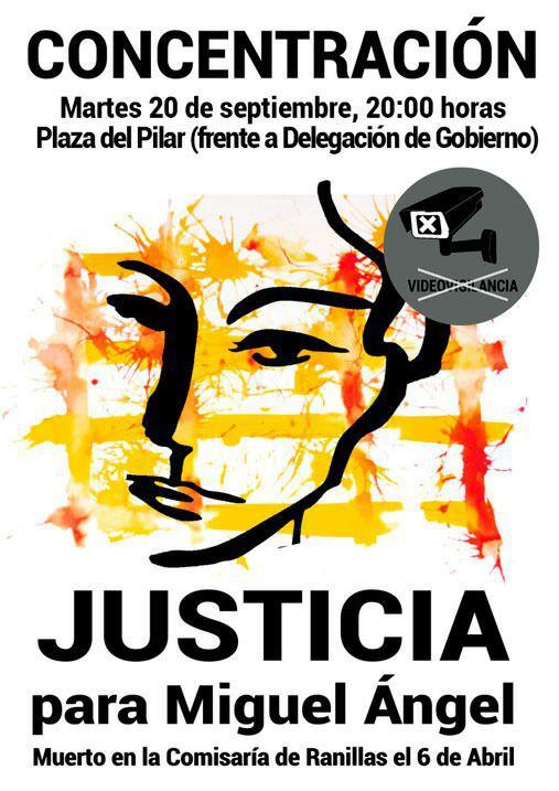 CONCENTRACION, 20 de Septiembre a las 20 h Pza del Pilar, frente a Delegación del Gobierno. #JusticiaParaMiguelÁngel