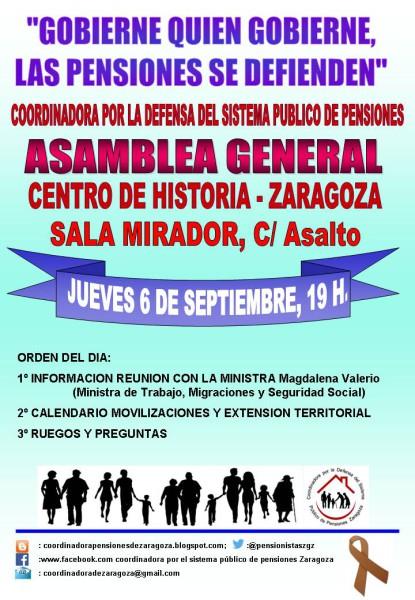 «Gobierne quien gobierne, las pensiones se defienden» Movilizaciones todos los lunes y asamblea General el jueves 6 de Septiembre.