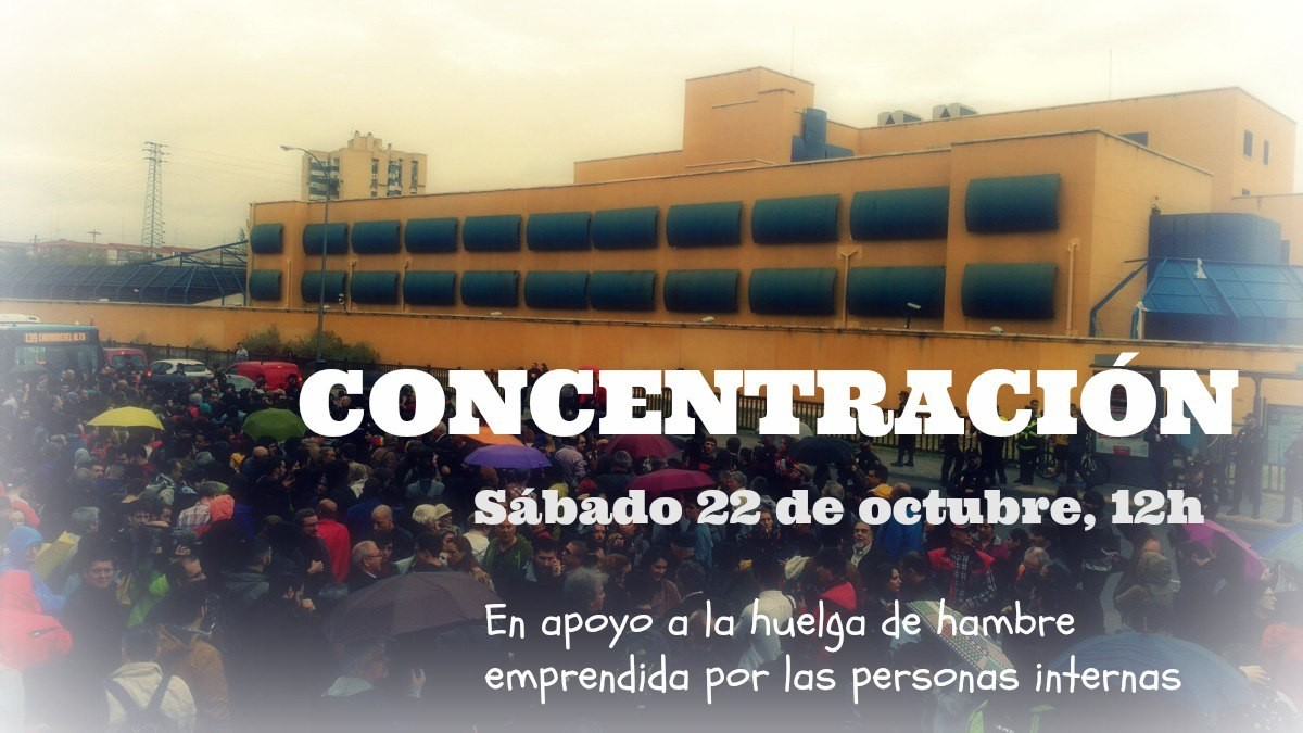 (Fotos )»Cuando bajamos de la azotea del CIE, la policía nos dio una paliza». Concentración, sábado 22 de Octubre, 12 h en el CIE de Aluche, en apoyo a la huelga de hambre iniciada por las personas internas.