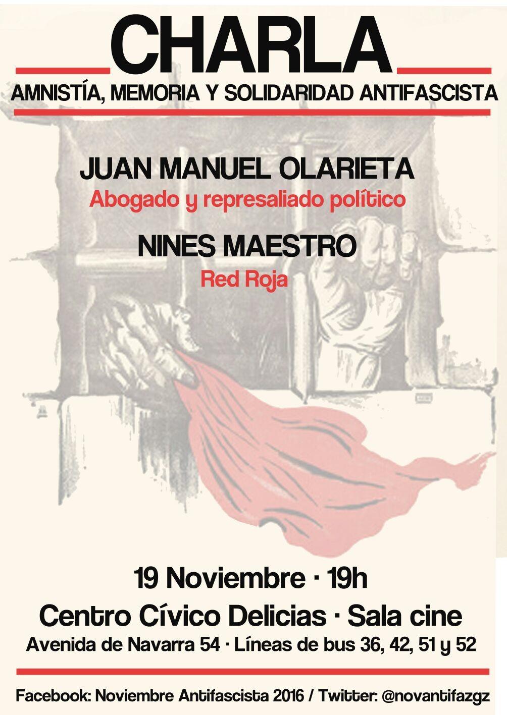 CHARLA sábado 19 de Noviembre. Amnistía, memoria y solidaridad Antifascista. Noviembre Antifascista, 2016