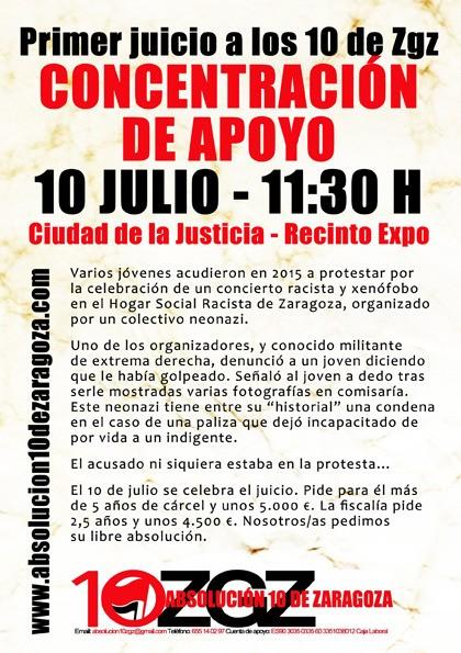 Concentración 10 de Julio en Zaragoza. Apoyo a los 10 Antifascistas