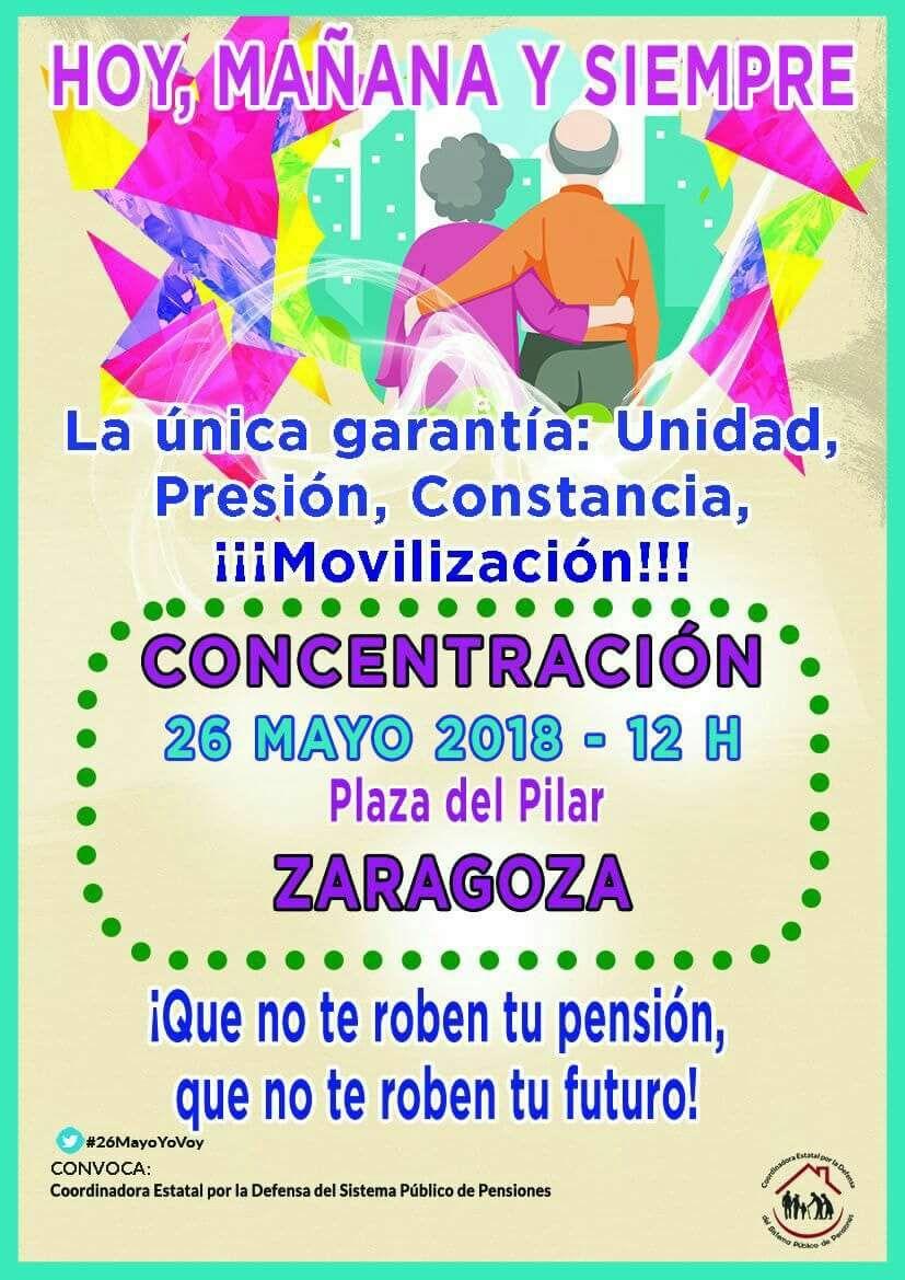 Concentración por el sistema público de pensiones. Sábado 26 de Mayo. Zaragoza