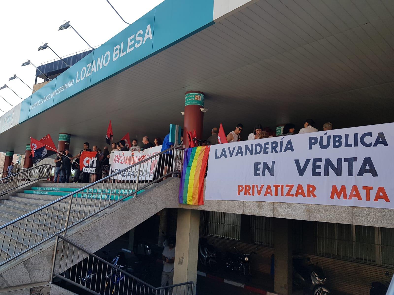Sanidad. Concentración miércoles 5 de Septiembre. No a la privatización de la lavandería del clínico (Hospital Lozano Blesa)