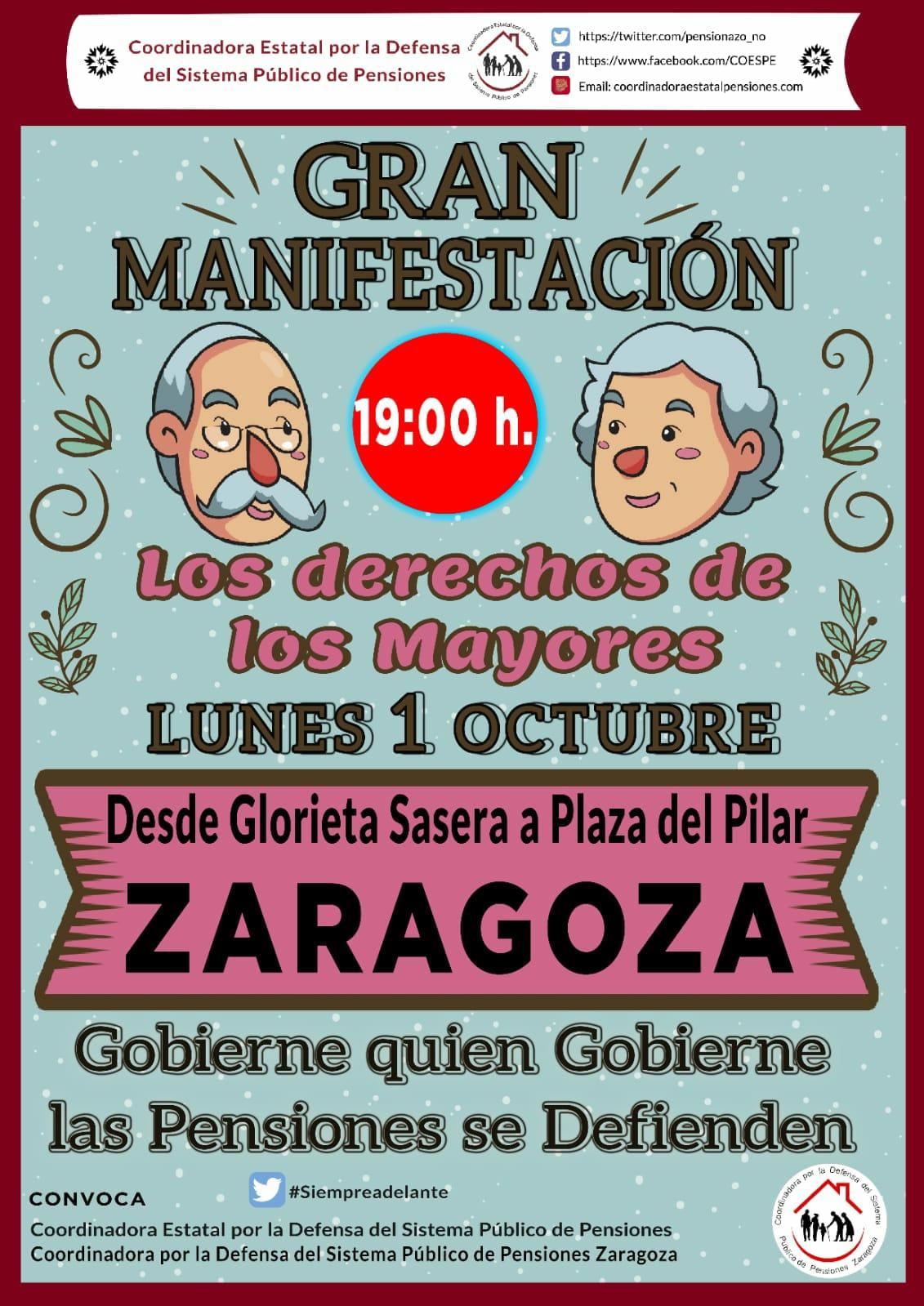 Así nos fueron robando el derecho a las pensiones. Manifestación en Zaragoza, 1 de Octubre