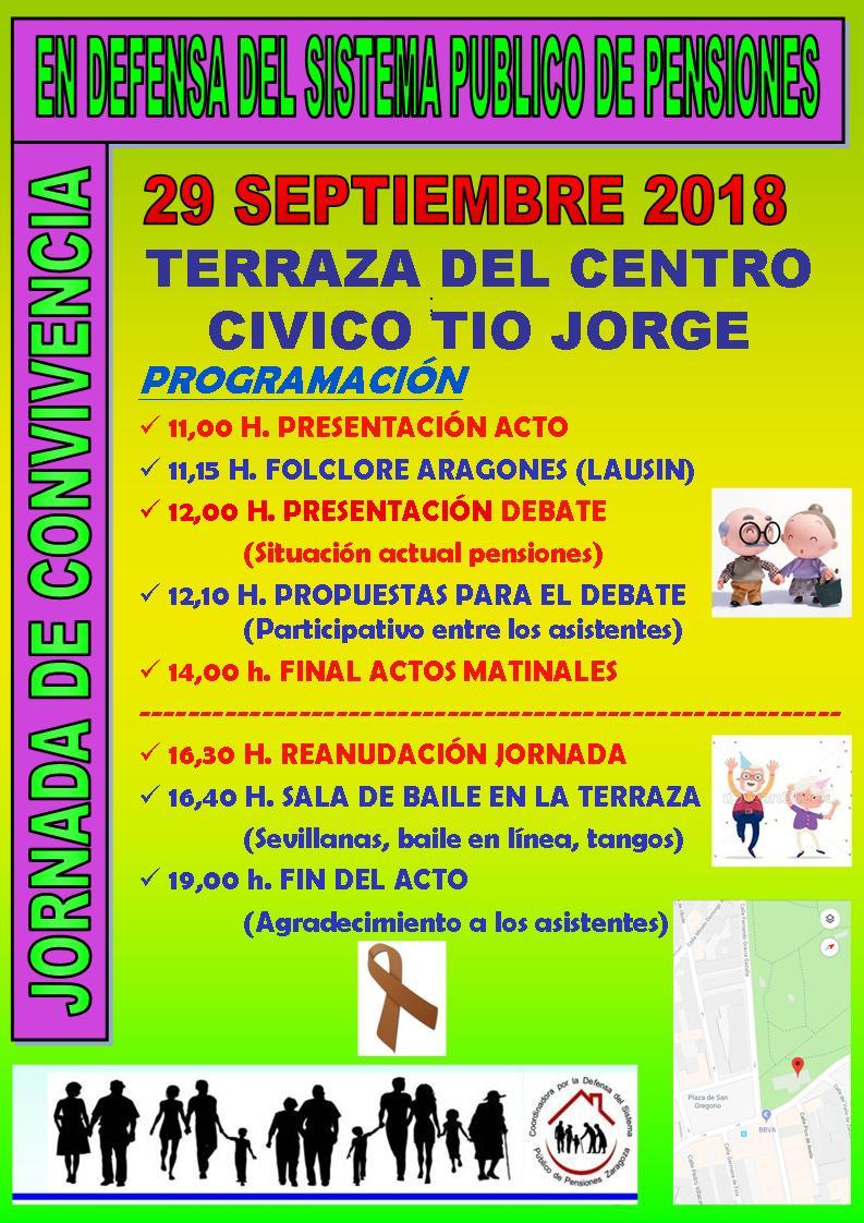 29 de Septiembre, en Zaragoza. Jornada de Convivencia en defensa del sistema Público de Pensiones