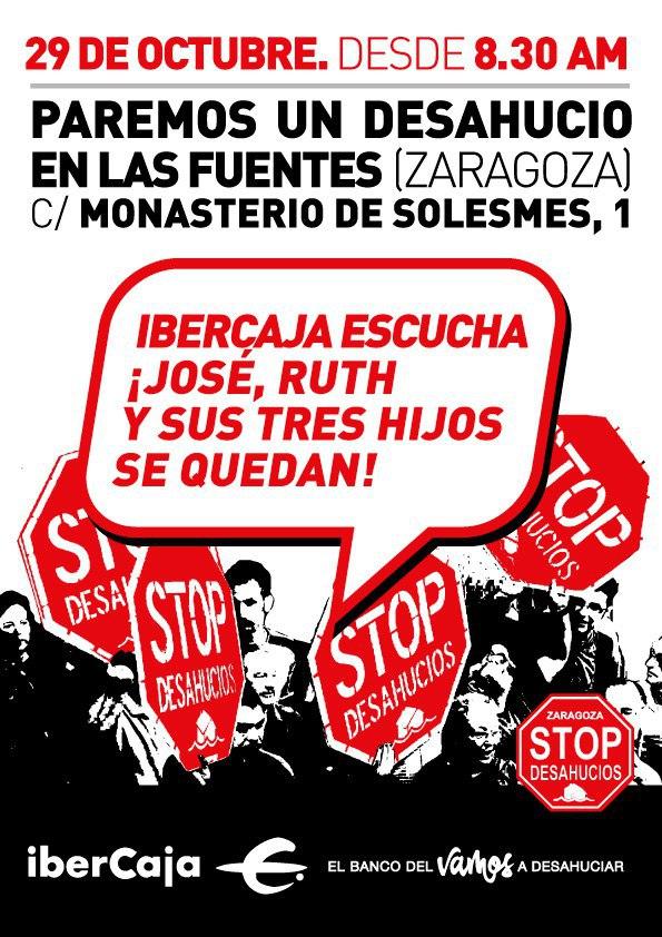 Lunes 29 de Octubre en Zaragoza, paremos un desahucio y Concentración Lunes al cierzo de pensionistas