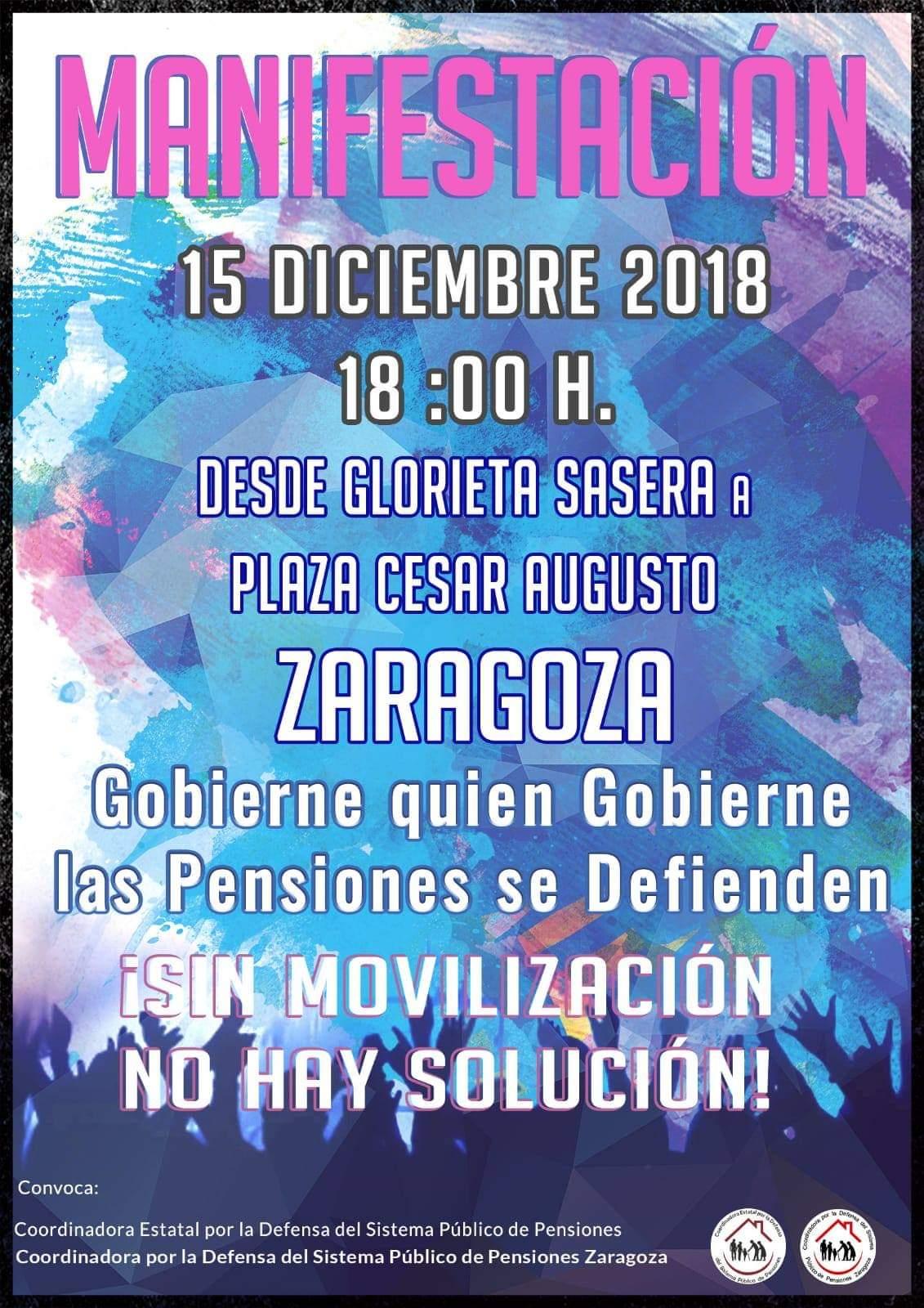 LLAMAMIENTO A LA MOVILIZACION DE LA COORDINADORA ESTATAL POR LA DEFENSA DEL SISTEMA PUBLICO DE PENSIONES. ZARAGOZA