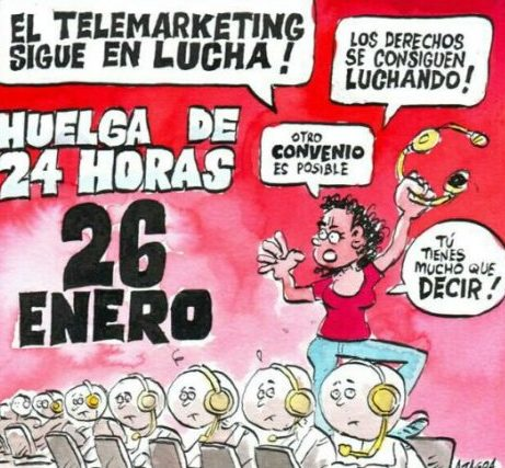 Huelga de telemarketing 26 enero, en Zaragoza, concentración,12:00 h, Plz. España
