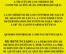 En Aragón. Crecen las renuncias médicas al incentivo por ahorrar en recetas